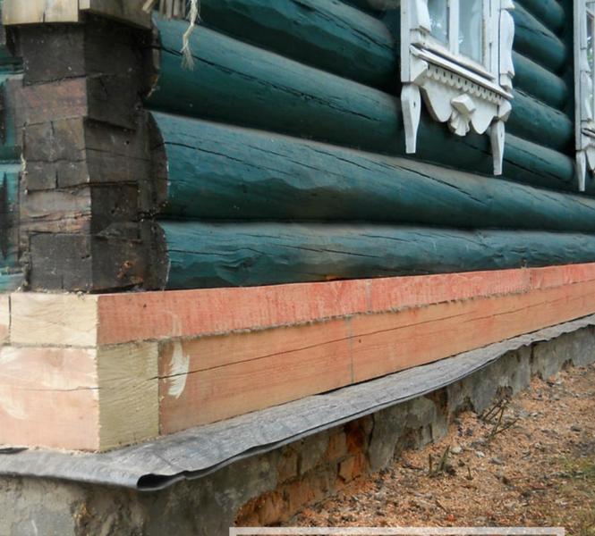 фото замены нижнего венца деревянного дома